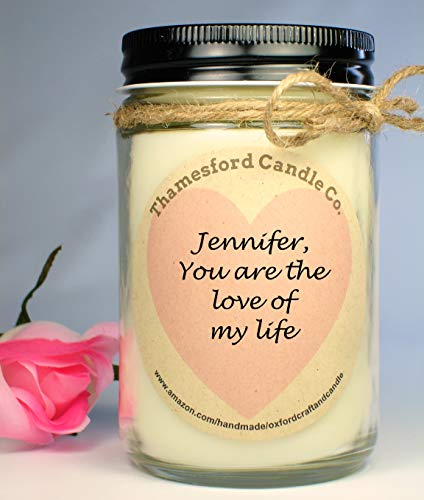 Blended Candle - Custom Message, Scent & Wax Color Sweetheart Candle - Blended Soy 12oz Jar Candles – Hand Poured – Gift for the one you LOVE – Personalized Gift