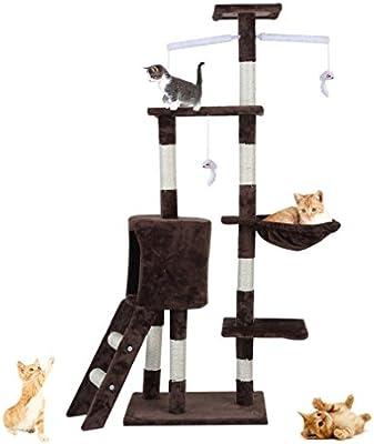 Sebastianee Árbol rascador para Gatos, Torre de árbol para Gatos Poste rascador para Gatos Torre Árbol 4 Plataforma Centro de Juego para Mascotas Cat Palace, marrón: Amazon.es: Productos para mascotas