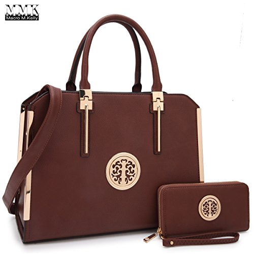 MMK collection Women Fashion Matching Satchel handbags with wallet(6900)~Beautiful Designer tote Handbag Set(7555/BROWN)