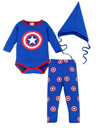 [StylesILove Baby Boy Super Hero 3-piece Costume Clothing Set (18-24 Months, Blue)] (18 Month Superhero Costumes)
