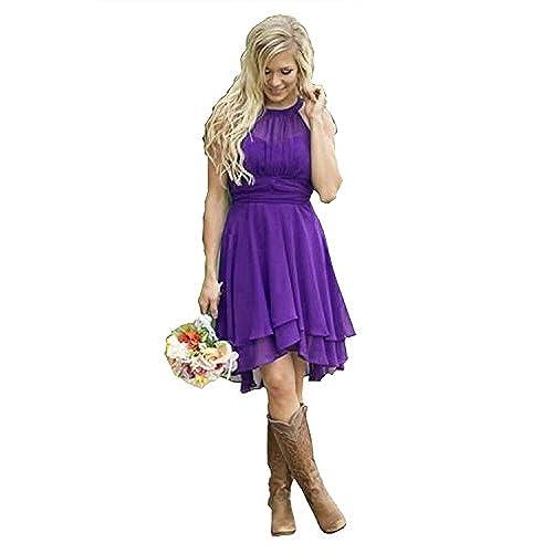 Country Style Wedding Dresses Purple Short