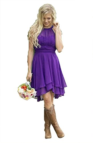 Meledy Women's Halter Country Bridesmaid Dresses Plus Hi-Lo Homecoming Dresses Short Summer Maid of Honor Gown Purple US0