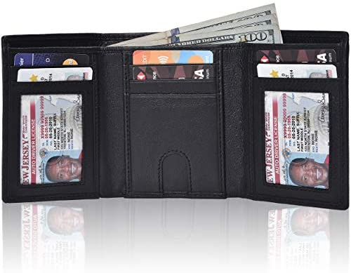 Traversible Trifold Leather Wallets Men