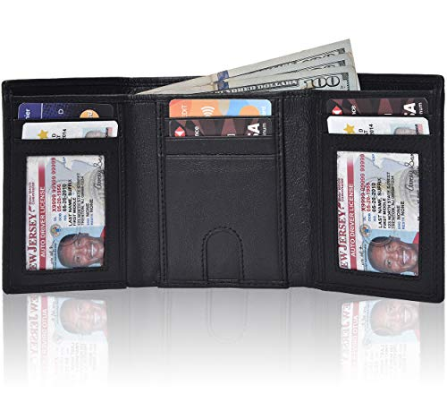 Traversible Trifold Leather Wallets for Men - Slim Design RFID Blocking Credit Card Holders & ID Window (Black Nappa)