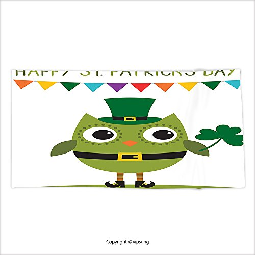 Vipsung Microfiber Ultra Soft Hand Towel St. Patricks Day Decor Owl With Leprechaun Costume Greeting Design Party Shamrock White And Olive Green For Hotel Spa Beach Pool Bath - St George Costume Pattern