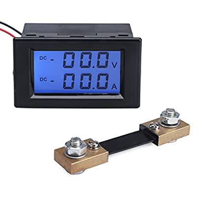 Dual Display DC Digital Multimeter Voltage Ampere Meter LCD Digital Display Voltmeter Current Meter with Shunt Volt Meter DC0-199.9V Amp Meter 0-100.0A for Battery Chargers Electric Vehicles