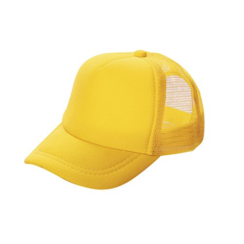 Opromo Kids Two Tone Mesh Curved Bill Trucker Cap, Adjustable Snapback, 23 Colors-Yellow-1 Pieces