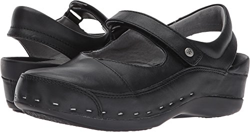 Wolky Womens Strap-cloggy Flats Chaussures Noir Puissant En Cuir