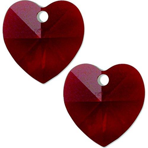 2 Garnet AB Swarovski Crystal Heart Pendant 6202 14mm -