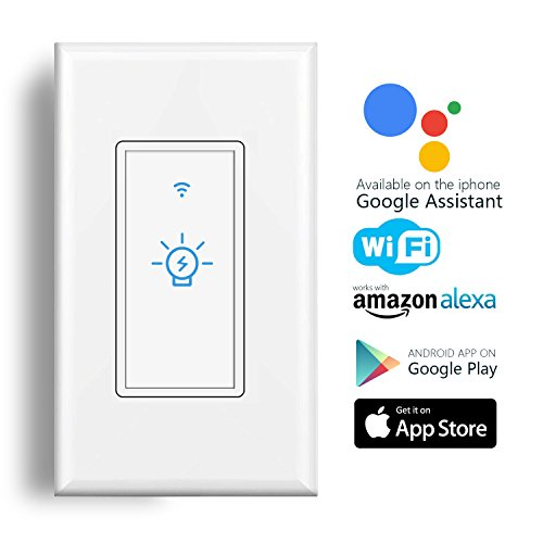 Smart Wifi Light Switch, Alexa Wall Smart Switch Phone Remote Control Wireless Touch Switch Compatible with Alexa, Google Home, Timing Function, Overload Protection, No Hub Required