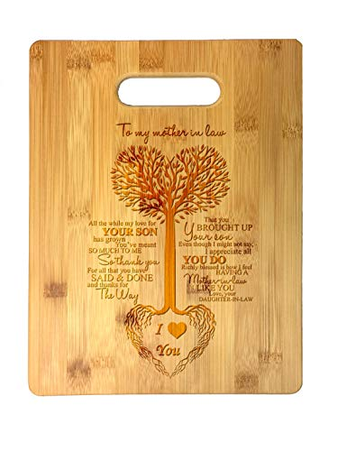 To My Mother in Law Tree Heart Sweet Sayings Birthday, Mother's Day, Laser Engraved Bamboo Cutting Board - Wedding, Housewarming, Anniversary, Birthday, Father's Day, Gift (Happy Birthday To My Daughter In Law)