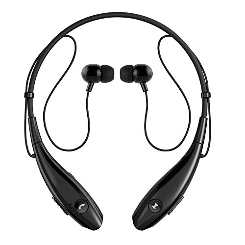SoundPEATS Bluetooth Headphones Stereo Neckband Wireless Headset Sport Earbuds with Mic (10 Hours Play Time, Bluetooth 4.1, CVC 6.0 Noise Cancelling, Sweatproof) - Q900 Black