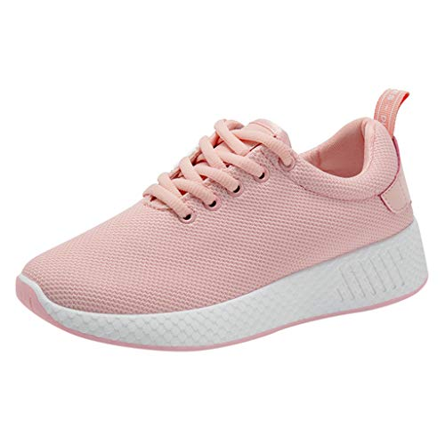 JUSTWIN Women's Breathable Sneakers Casual Mesh Lace Up Sports Running Sneakers Pink