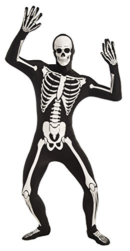 Forum Novelties Men's Disappearing Man Patterned Stretch Body Suit Costume Glow-In-The-Dark Skeleton- Large, Black/White, (Glow In The Dark Skeleton Suit)