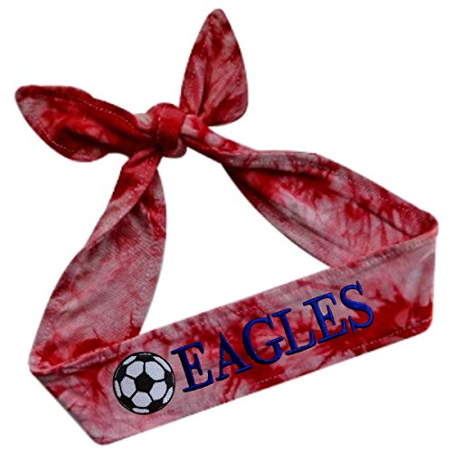 Funny Girl Designs Soccer TIE Back Moisture Wicking Headband Personalized with The Embroidered Name of Your Choice (Tie Dye Red)