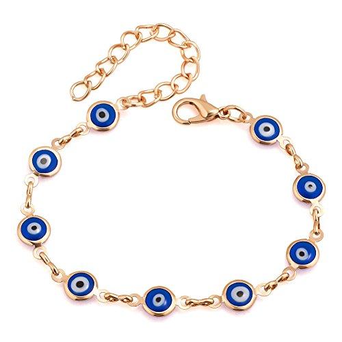 Heart of Charms Red Blue Evil Eyes Bracelets Hamsa Hand of Fatima Bracelets Chain Clasp Charms Bracelets (dark (Evil Eye Heart Bracelet)