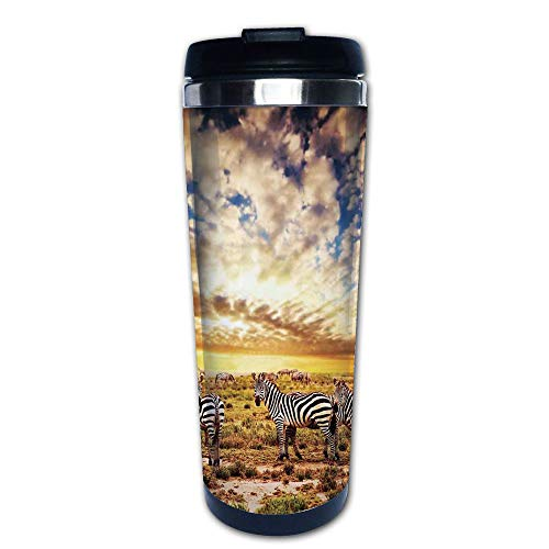 Stainless Steel Insulated Coffee Travel Mug,Sunset with Zebras on the Grassland Dramatic,Spill Proof Flip Lid Insulated Coffee cup Keeps Hot or Cold 13.6oz(400 ml) Customizable - Touch Zebra Pro Snap