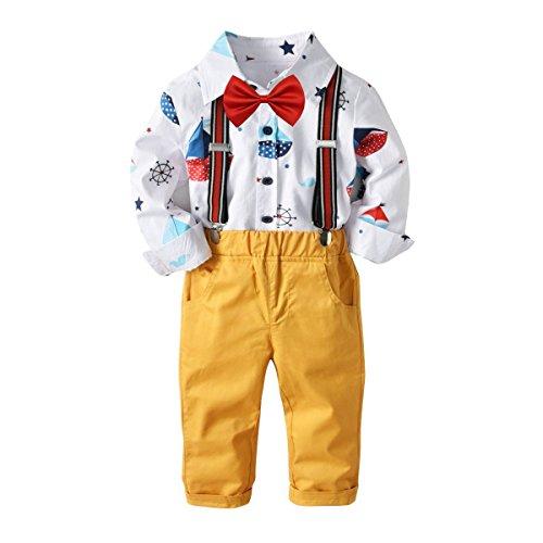 Baby Boys Fashion Gentleman Pants Clothing Set Sailboat Printed Long Sleeves Shirt+Suspender Colorful Pants+Bow Tie Toddler 4Pcs Set (Sailboat+Yellow, 4-5T/110)