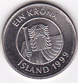 1999 Iceland 1 Krona Coin