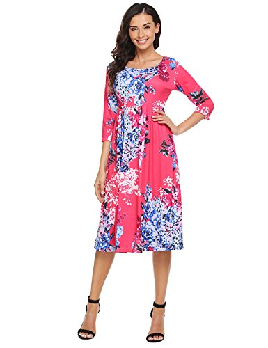 Dress Shirt Sleeve Length (Bluetime Women's Floral Print Casual half Sleeve A-line Loose T-shirt Dresses Knee Length Rose Red,L)