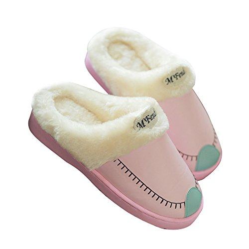 Hevinle Coton Hiver Slip Lavable Sur Thermique Pantoufles Femmes Rose