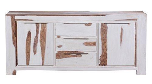 1PLUS Sideboard Massivholz Sheesham White Wash Finish 150 x 45 x 90 cm 2 Türe...