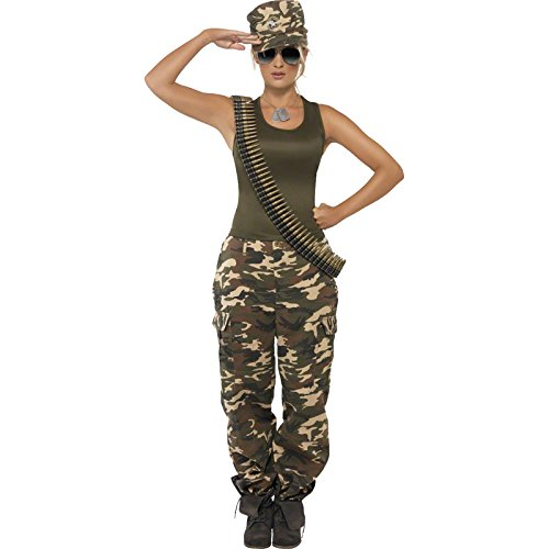 [Smiffy's Women's Khaki Camo Costume Female Includes Vest and Trousers, Multi, Medium] (Army Halloween Costumes Women)