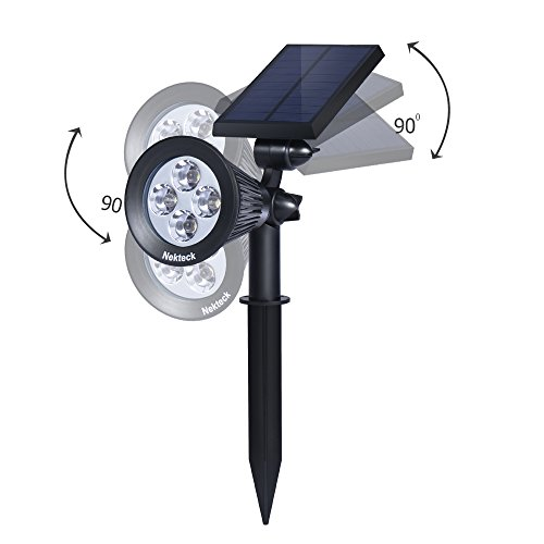 Nekteck Solar Powered Garden Spotlight - Outdoor Spot Light for Walkways, Landscaping, Security, Etc. - Ground or Wall Mount Options (2 Pack, White) by Nekteck (Image #2)