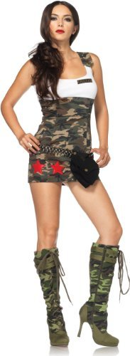 [Leg Avenue Women's Combat Tank Dress With Star Appliques, Camo, Small] (Womens Tank Dress Wonder Woman Costumes)