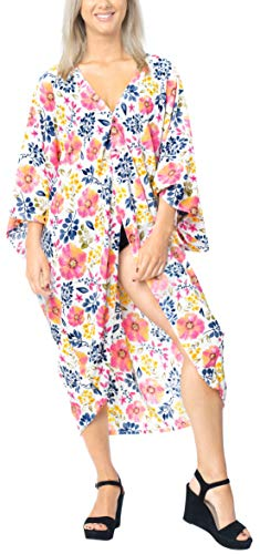 Women Kimono Swim Cardigan Resort Shawl Open Front Cover up Printed Pink_X711