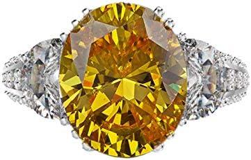 ANAZOZ Damen Ring S925 Silber Oval Gelb Zirkonia Verlobungsring Damenring Solitärring Silberring Hochzeitring