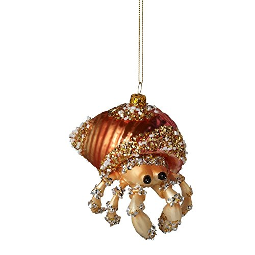 Midwest Blown Glass Embellished Hermit Crab Ornament