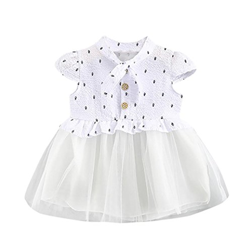 Iuhan Baby Girl Casual Dress Print Princess Net Yarn Button Patchwork Girl Tutu Dress (18-24Months, (Dollar Net)