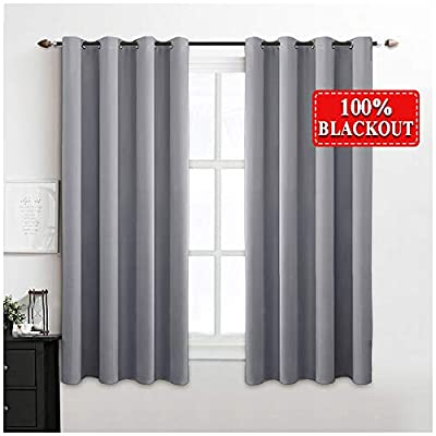 "MIULEE 100% Blackout Curtains Thermal Insulated Solid Grommet Curtains/Drapes/Shades for Bedroom Living Room 2 Panels Light Grey 52x45 Inch - BASIC INFORMATION: Each package includes 2 blackout curtain panels in 52"" wide x 45"" long, suitable for window in 36""-70"" wide. The interior diameter of silver grommet top is 1.6 inch, fits most curtain rod. 100% BLACKOUT: The blackout drapes are made by the upmarket triple weave technology so that they could block 100% sunlight out, give you a good sleep, especially useful for nightshifts and late sleeper. QUALITY CURTAINS: All of our window treatment are sewn by experienced worker, own neatly edge. Grade A fabric makes the drapery soft to touch and vertical to hang, decorate your living room, bedroom, dining...... - living-room-soft-furnishings, living-room, draperies-curtains-shades - 41%2BUr7S1YjL. SS400  -"