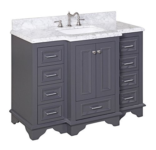 Kitchen Bath Collection KBC1248GYCARR Nantucket Bathroom Vanity with Marble Countertop, Cabinet with Soft Close Function and Undermount Ceramic Sink, Carrara/Charcoal Gray, 48'