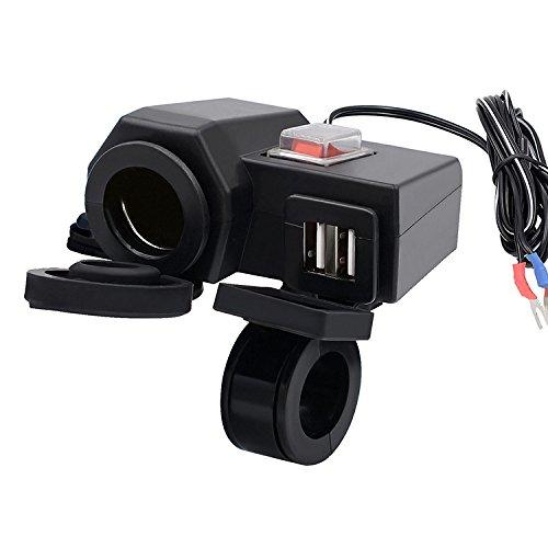 Ocamo - Base de mechero Impermeable para Motocicleta (12 V, GPS, Incluye Cargador de Enchufe USB Dual)