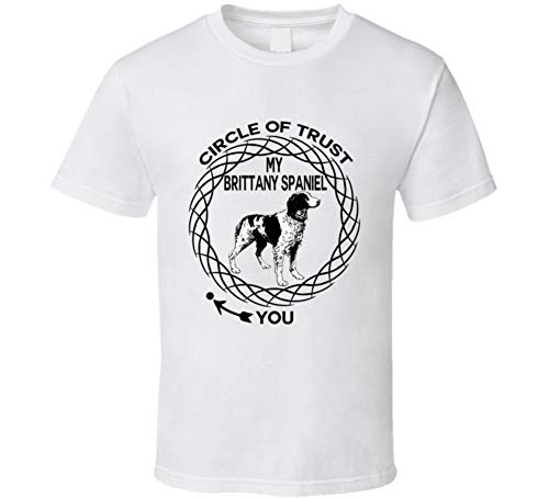(Brittany Spaniel Circle of Trust Dog Lovers T Shirt 2XL White)
