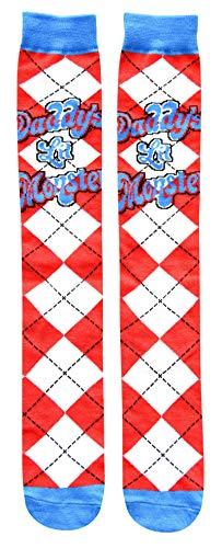 Harley Quinn Daddy's Lil Monster Argyle Juniors/Womens Knee High Socks