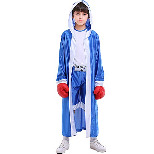 Kids Boys Boxing Costume Red Blue Boxer Cosplay with Boxing Gloves Robe Halloween Party Dress Decoration Role Playing Uniform Carnival (Blue, -