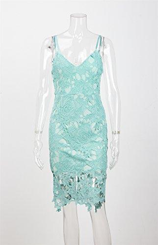 Sleeveless Straps Blue Womens Spaghetti Lace Didala Neck Fit Nightclub Dress Sexy Slim V Crochet Floral 7CZxnagq