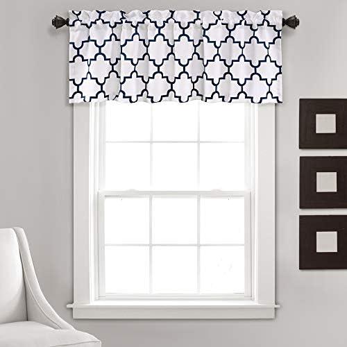 Lush Decor, Navy Bellagio Room Darkening Trellis Geometric Design Window Curtain Valance for Living, Dining, Bedroom, 52 x 18
