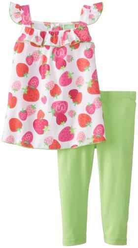 Watch Me Grow! by Sesame Street Baby Girls' 2 Piece Strawberry Legging Set, Pink, 18 Months