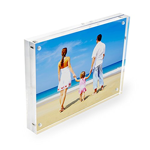 Acrylic Photo Frame 4x6 Gift Box Package, Clear Free Standing Desktop Double Sided Magnetic Picture (Freestanding Clear Glass)