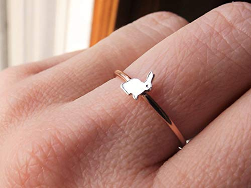 (Bunny Ring, Little Bunny, Bunny Rabit Ring, Rabbit Rings, Gift, White Rabbit Ring, Silver Bunny, Stacking Ring, Simple Ring, Minimalist)