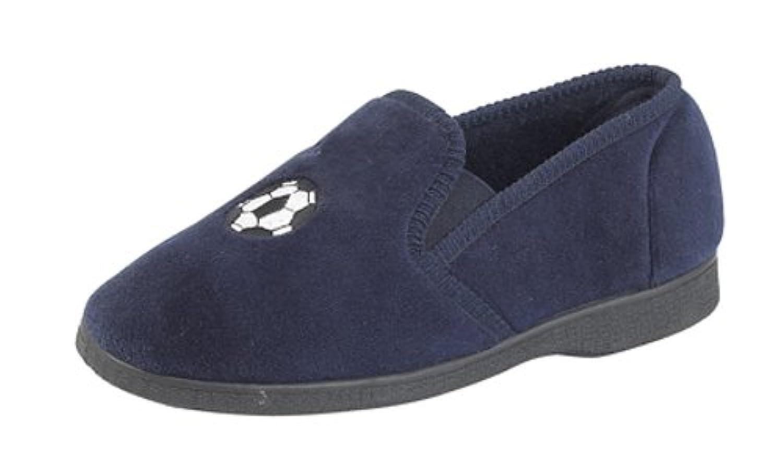 Boys 'Goal' velour slippers NAVY size 4 UK