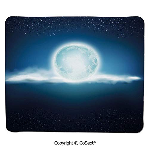 Gaming Mouse Pad,Full Moon with Clouds and Stars Majestic Sky at Night Foggy Lunar,Water-Resistant,Non-Slip Base,Ideal for Gaming (7.87