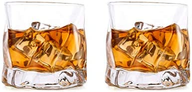 Glasseam Juego De Vasos De Whisky Irregulares De 2 Pliegues Inclinados, Vaso Escocés De 250 Ml, Vaso De Whisky a La Moda para Papá, Esposo, Amigos, Cristalería para Vaso De Bourbon/Ron/Bar