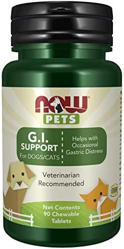 NOW Pet Health, G.I. Support Supplement, Formulated for Cats Dogs, NASC Certified, 90 Chewable Tablets