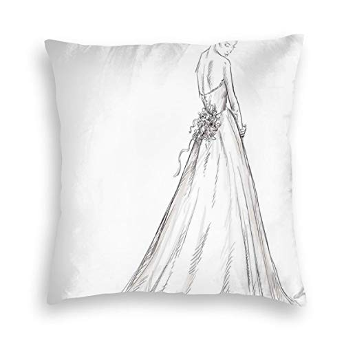 yhsdika Velvet Soft Decorative Square Accent Throw Pillow Covers Cushion Case,Fairytale Ending of A Love Story Princess Sketchy Bride with Flowers Image,for Sofa Bedroom Car, 20 inches x 20 inches