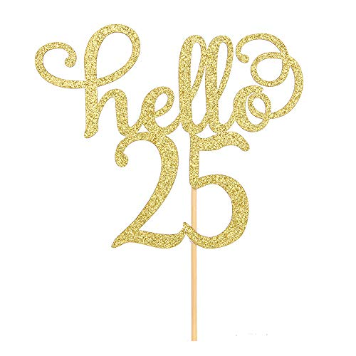 Hello 25 Cake Topper- 25th Birthday/Wedding Anniversary Party Sign Decorations by MaiCaiffe